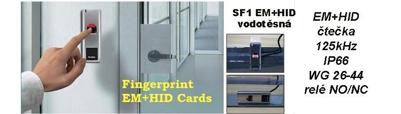 SF1 - vodotěsná čtečka prstů s RFID čtečkou a WG