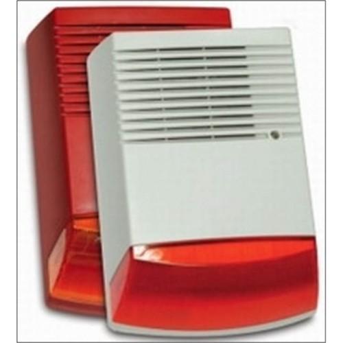 Drátová profi magnetodynamická strobo siréna červená velká zálohovana, SPL 120dB, bílá
