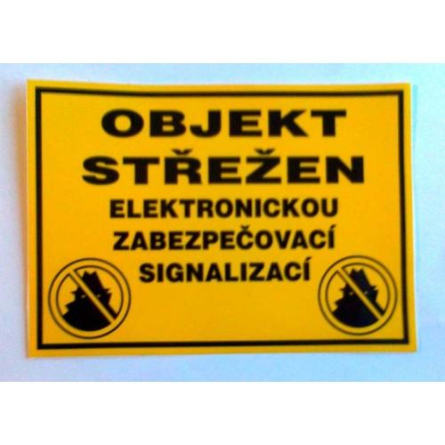 Výstražná samolepka OBJEKT STŘEŽEN elektronickou zabezpečovací signalizací *