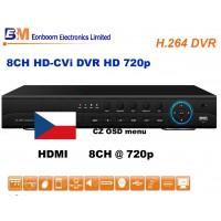 8CH HD-CVI rekordér DVR EN-8108, 720p, české menu