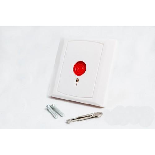 Požární nouzové tlačítko bílé s aretací klíčkem ALF-EB02