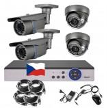 4CH 1080p AHD kamerový set STARLIGHT CCTV - DVR s LAN a 2+2x bullet+dome,4x mot. ZOOM 2,8-12mm, CZ menu,P2P, HDMI, P2P, IVA, H265+