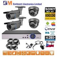 4CH 1080p AHD kamerový set STARLIGHT CCTV - DVR s LAN a 2+2x bullet+dome,4x ZOOM, CZ menu,P2P, HDMI, P2P, IVA, H265+
