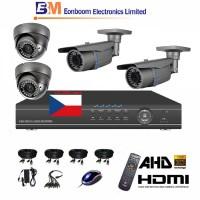4CH 1080p AHD kamerový set STARVIS CCTV - DVR s LAN a 2+2x bullet+dome AHD IR kamer,4x ZOOM, vč. příslušenství, s kabeláží, 1920x1080px/CH, CZ menu,P2P, HDMI, P2P, 2MPx
