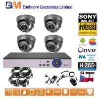 4CH 1080p AHD kamerový set STARLIGHT CCTV - DVR a 4x venkovní dome, 4xZOOM, CZ menu, P2P, HDMI, IVA, H265+