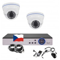 4CH 1080p AHD kamerový set STARLIGHT CCTV- DVR a 2x venkovní dome bílých  IR kamer, 4x ZOOM, BÍLÉ, CZ menu,P2P, HDMI, IVA, H265+