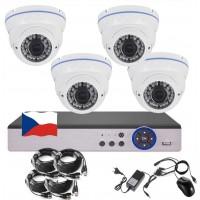 4CH 1080p AHD kamerový set STARLIGHT CCTV - DVR a 4x venkovní dome IR kamer, 4x mot. ZOOM 2,8-12mm, BÍLÉ, CZ menu,P2P, HDMI,  IVA, H265+