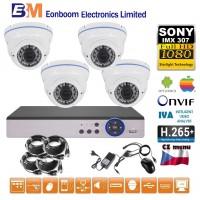4CH 1080p AHD kamerový set STARLIGHT CCTV - DVR a 4x venkovní dome IR kamer, 4xZOOM, BÍLÉ, CZ menu,P2P, HDMI,  IVA, H265+