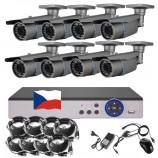 8CH 1080p AHD DVR kamerový set STARLIGHT CCTV - DVR s LAN a 8x bullet AHD IR kamer, 4x ZOOM, CZ menu,P2P, HDMI, IVA, H265+
