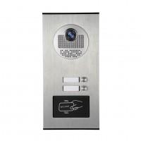 Kovový odolný videozvonek venkovní pro 2 účastníky s RFID čtečkou, 2ks tlačítek XSL-530-2 ID + DO 433MHz