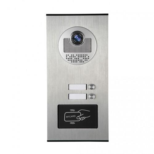 Kovový odolný videozvonek ZONEWAY XSL-530-2 ID, venkovní pro 2 účastníky s RFID čtečkou, 2ks tlačítek
