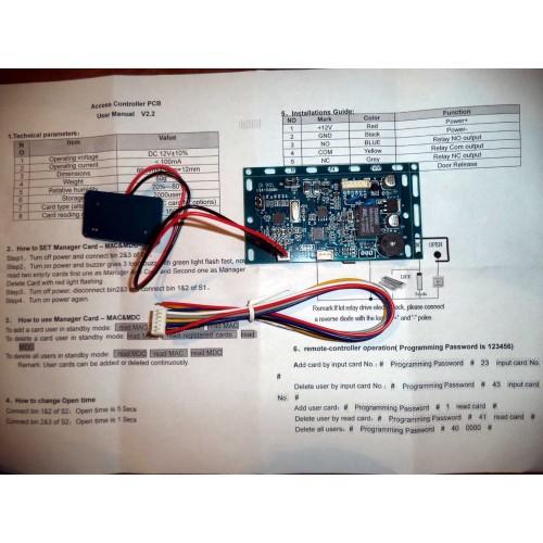 13,56MHz MIFARE čtečka, modul plošného spoje s relé, PCB-1