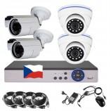 8CH 1080p AHD kamerový set - DVR s LAN a 2+2x dome + bullet IR kamer, CZ menu, P2P, HDMI, IVA, H265+