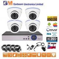 4CH 1080p AHD kamerový set CCTV - DVR s LAN a 4x venkovních dome IR kamer, CZ menu,P2P, HDMI, IVA,H265+