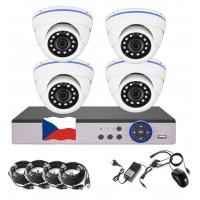 4CH 4MPx AHD kamerový set CCTV - DVR s LAN a 4x venkovní dome, 2688×1520px/CH, CZ menu,P2P, HDMI, IVA, H265+