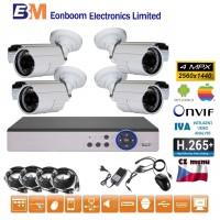 4CH 4MPx AHD kamerový set CCTV - DVR s LAN a 4x venkovní bullet , 2688×1520px/CH, CZ menu, P2P, HDMI, IVA, H265+