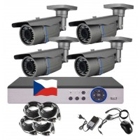 4CH 5MPx STARVIS AHD kamerový set CCTV - DVR s LAN a 4x venk. 2,8-12mm bullet, 2688×1960px/CH, CZ, P2P, HDMI, IVA, H265+