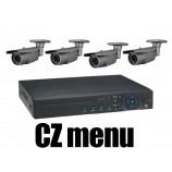 4CH 4MPx AHD kamerový set CCTV - DVR s LAN a 4x venkovních vari 2,58-12mm bullet AHD IR kamer, 2688×1520px/CH, CZ menu,P2P, HDMI