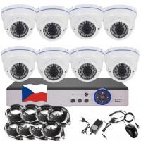 8CH 5MPx STARVIS kamerový set CCTV - DVR s LAN a 8x venkovních vari 2,8-12mm dome bílé  IR kamer W, 2688×1960px/CH, CZ menu,P2P, HDMI, IVA, H265+
