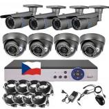 8CH 5MPx STARVIS kamerový set CCTV - DVR s LAN a 4+4 vari 2,8-12mm bullet/šedé dome, 2688×1960px/CH, CZ menu,P2P, HDMI, IVA, H265+