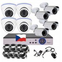 8CH 4MPx AHD kamerový set CCTV - DVR s LAN a 4+4 venkovních bullet/dome kamer, CZ menu,P2P, HDMI, IVA, H265+