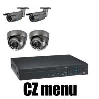 4CH 4MPx AHD kamerový set CCTV - DVR s LAN a 4x venkovních vari 2,8-12mm bullet/dome AHD IR kamer, 2688×1520px/CH, CZ menu,P2P, HDMI