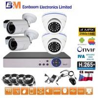 4CH 4MPx AHD kamerový set CCTV - DVR s LAN a 4x venkovní bullet/dome, 2688×1520px/CH, CZ menu,P2P, HDMI, IVA, H265+