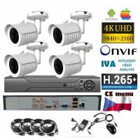 4CH 8MPx AHD kamerový set - 4K CCTV - DVR s LAN a 4x venkovní bullet, 3840x2160px/CH, CZ menu, P2P, HDMI, IVA, H265+