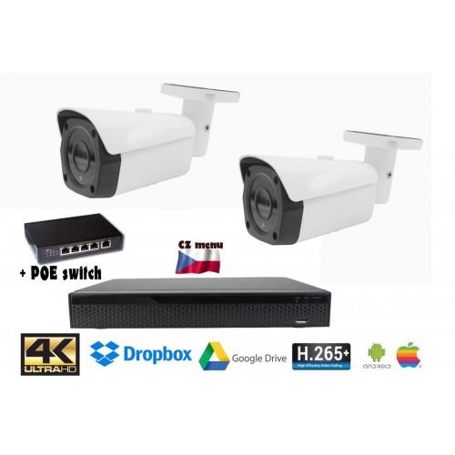 Kamerový set 8MPx 4K H265 IP - 2x bullet kamer + 4K 32CH NVR 3108 s CZ menu + POE switch 4+1