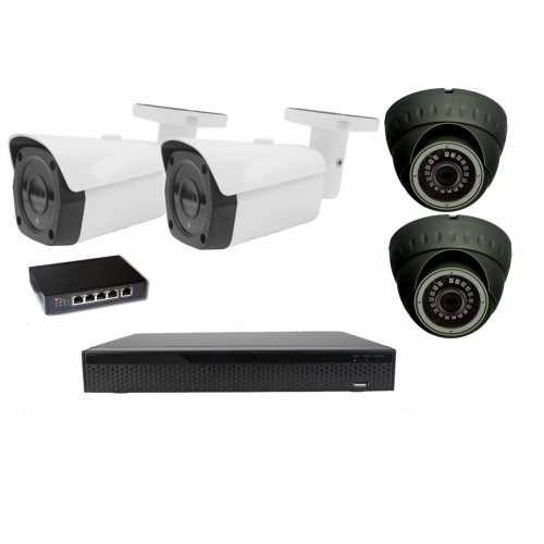 8MPx 4K Kamerový set Zoneway 2+2 - 4K 32CH NVR 3108, 4x 8MPx IP kamery a POE switch