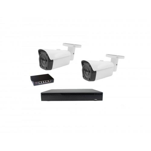 8MPx Kamerový set Zoneway - 2x IP bullet kamera, 4K 32CH NVR 3108 a POE switch