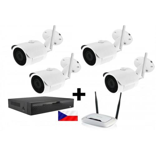 Kamerový WiFi IP set - 4x Zoneway NC950 5MPx, NVR2104 a WiFi router