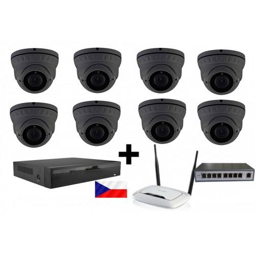 5MPx H265 kamerový IP POE set, 8x NC960, vari, IR40m + NVR 2104 + router + POE switch 8 + 1