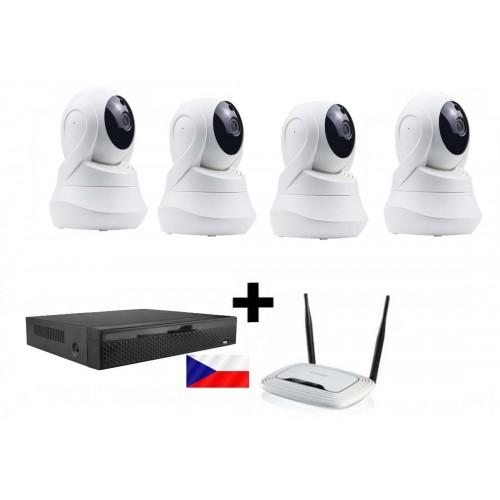 Kamerový WiFi IP set - 4x 2MPx PTZ Zoneway NC825, rekordér NVR2104 a WiFi router