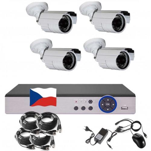 8CH 1080p AHD kamerový set - DVR s LAN a 4x bullet 2MPx IR kamer, CZ menu,P2P, HDMI, IVA, H265+