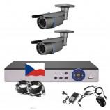 4CH 1080p AHD kamerový set STARLIGHT CCTV - DVR s LAN a 2x bullet IR kamer, 4xZOOM,CZ menu,P2P, HDMI, 2MPx,  IVA, H265+