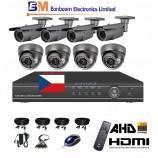 8CH 1080p AHD DVR kamerový set STARVIS CCTV - DVR s LAN a 4+4 dome+bullet AHD IR kamer, 4x ZOOM,  vč. příslušenství, s kabeláží, 1920x1080px/CH, CZ menu,P2P, HDMI, 2MPx