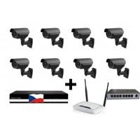 4MPx Kamerový IP set, 8x MHK N701LP FULL HD, vari + NVR6109F + router + POE switch 8 + 1