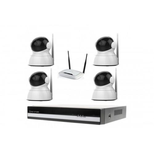 Kamerový WiFi IP set, 4x PTZ Zoneway NC824 2MPx + NVR2404 + WiFi router